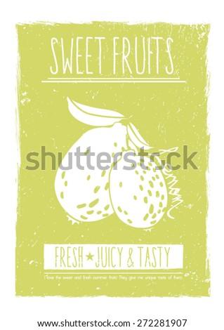 Lemon fruit print in vector,vintage look. - stock vector