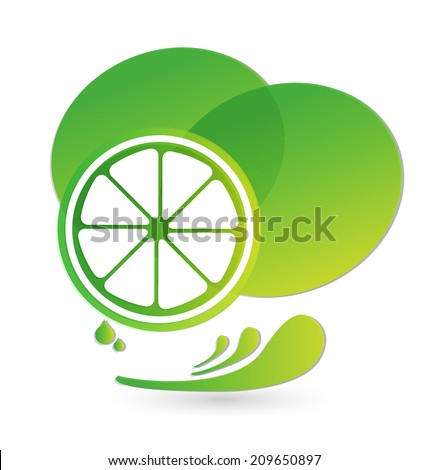 Lemon green splash juice of citrus vector icon - stock vector