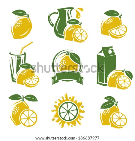 Lemon labels and elements set. Vector  - stock vector