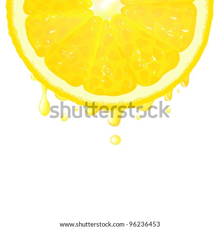 Lemon Segment With Juice, Vector Background - stock vector
