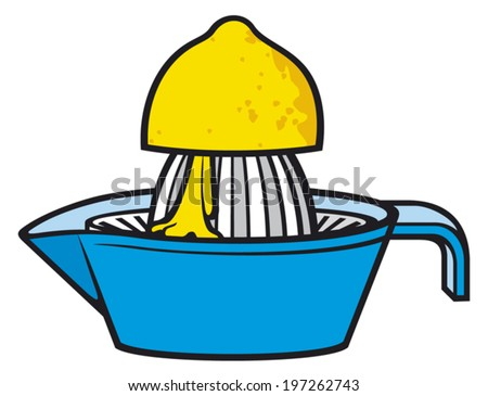 lemon squeezer (citrus squeezer with lemon, plastic citrus juicer, half a lemon and a lemon squeezer, juice preparation lemon squeezer) - stock vector
