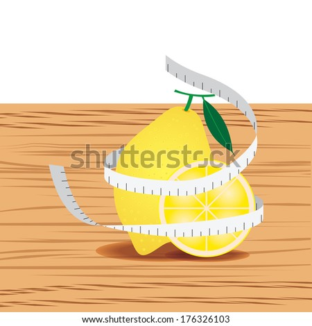 Lemon with measure tape and table wood - stock vector