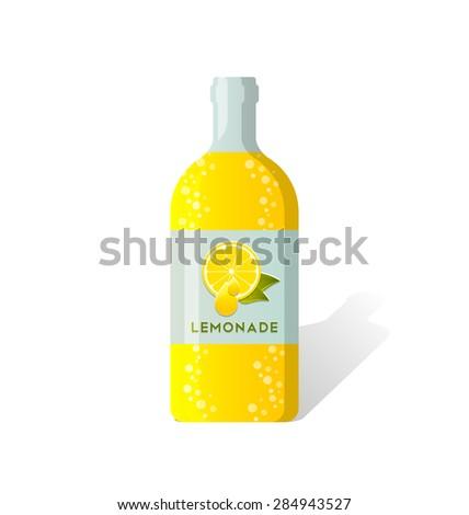 Lemonade bottle with fresh juicy lemon depicted on label - stock vector