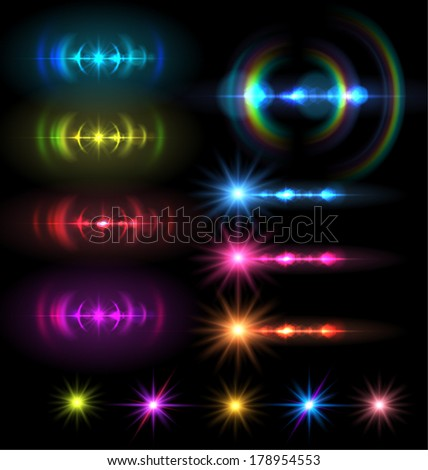 lens flare set . Vector illustration. - stock vector