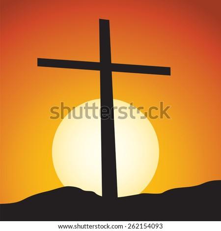 Lenten cross. Living our faith. Lenten cross with sunrise or sunset background. - stock vector