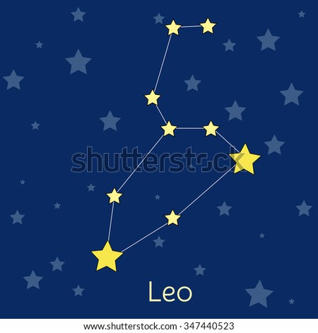 Leo Fire Zodiac  constellation with stars in cosmos. Vector image with navy blue background and stars - stock vector