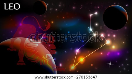 Leo - Space Scene with Astrological Sign and copy space - stock vector