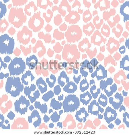Leopard print trendy color. Serenity and rose quartz animals spots. - stock vector