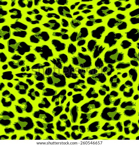 Leopard seamless pattern design in trendy green color, vector illustration background - stock vector