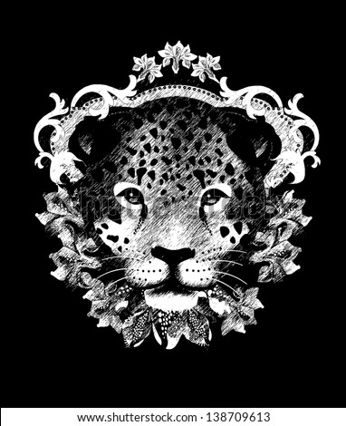 Leopard, T shirt design/All elements are editable - stock vector