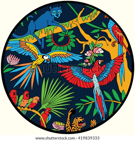 Leopards and Parrots in the Jungle  in the Circle. - stock vector