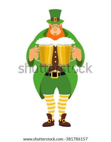 Leprechaun and beer. Good leprechaun keeps two mugs of beer. Cute old man in Green Hat cylinder. Old green jacket and striped leggings. Irish mythological hero for St. Patrick's Day March 17  - stock vector