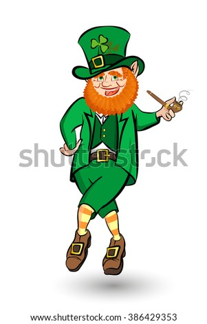 Leprechaun Celebrating Saint Patricks Day. Irish Leprechaun Jumping with a pipe in his hand. Isolated Illustration. - stock vector