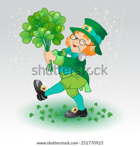 Leprechaun, Irish man with a clover, St. Patrick's Day - stock vector