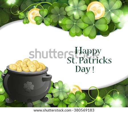 Leprechaun pot on clover and gold coins. St. Patrick's Day background. - stock vector