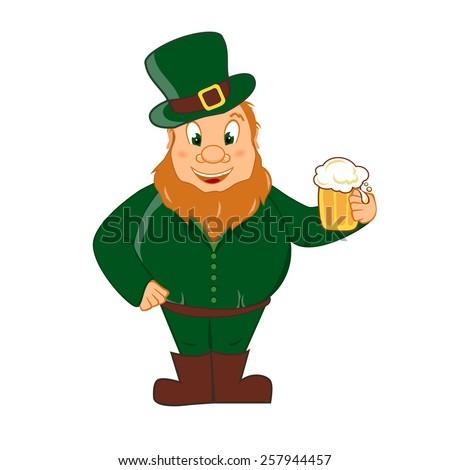 Leprechaun with beer - stock vector