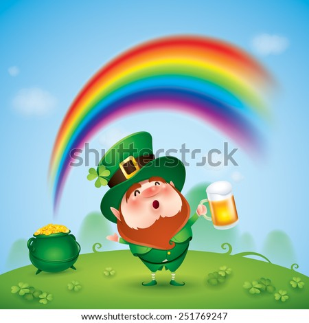 Leprechaun with pot of gold at the end of rainbow - stock vector