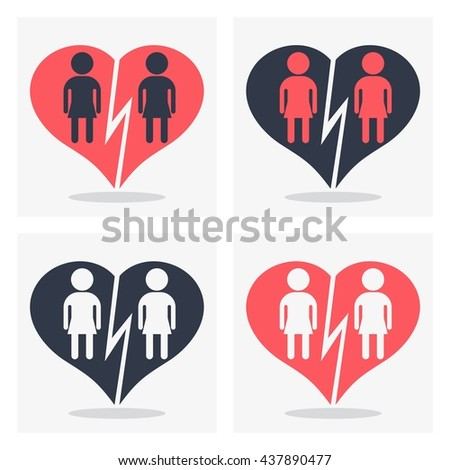 Lesbian girl couple with broken heart. Gay couple, gay women. Conceptual image of gay love and gay family. Objects isolated on a white background. Flat vector illustration. - stock vector