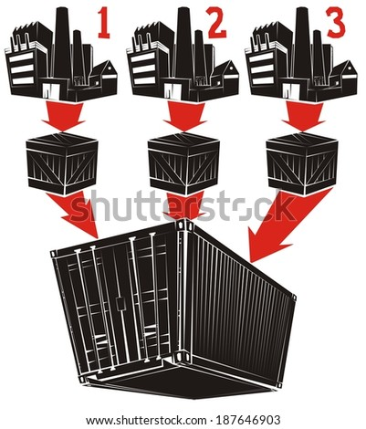 Less than container load (LCL) shipment in six illustrations (part 1) - cargo is being consolidated into a shipping container - stock vector