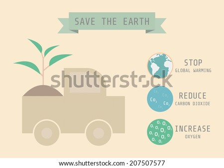 let's go to save the earth, ecology concept, flat and pastel style - stock vector
