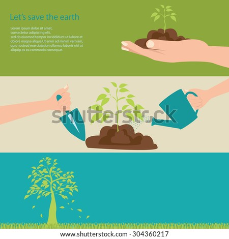Let's save the earth with green trees, vector illustration. - stock vector