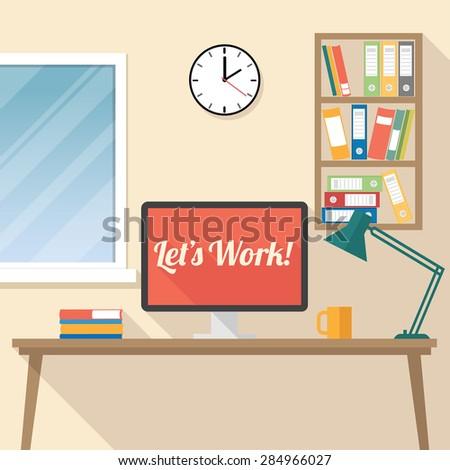 Let's Work! workspace illustration flat design - vector eps10 - stock vector