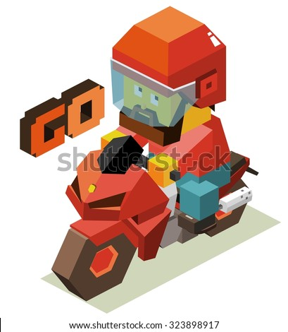 Lets go with motorcycle. Isometric vector illustration - stock vector