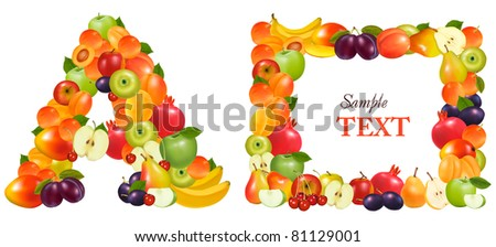 Letter A and a frame made from fruit. Vector. - stock vector