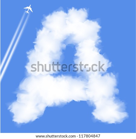 Letter A cloud shape - stock vector