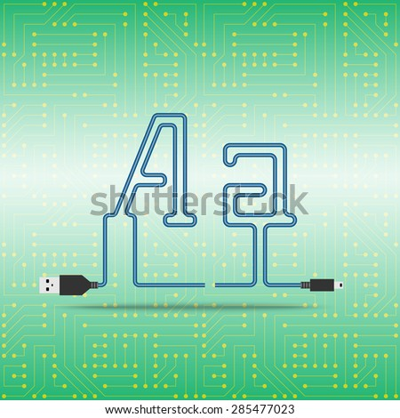 Letter A laid cable. USB blue cable, vector illustration. Background microchip - stock vector