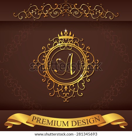 Letter A. Luxury Logo template flourishes calligraphic elegant ornament lines. Business sign, identity for Restaurant, Royalty, Boutique, Hotel, Heraldic, Jewelry, Fashion, vector illustration. - stock vector
