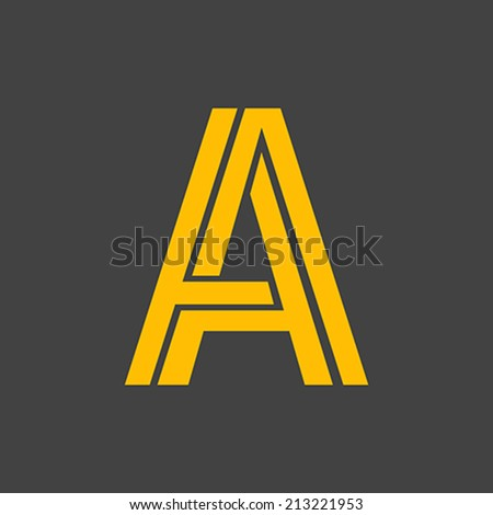 Letter A vector alphabet impossible shape. ABC concept type as logo. Typography design - stock vector
