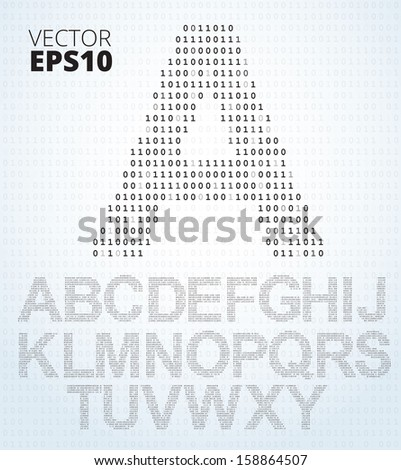 Letter A-Z, font from binary code listing, all alphabet - stock vector