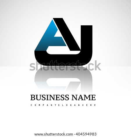 letter AJ company linked letter logo icon blue and black - stock vector