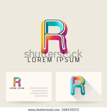 Letter Alphabet R Logo Icon Design Template Element. Vector Color Sign Easy Editable for Your Design. - stock vector