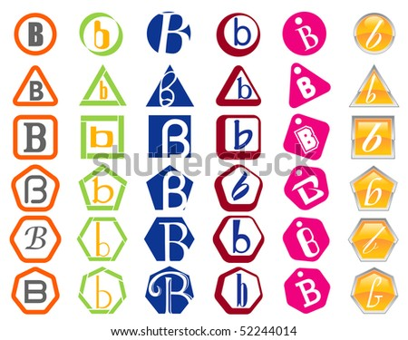Letter B Icon Design Badges and Tags Set - stock vector
