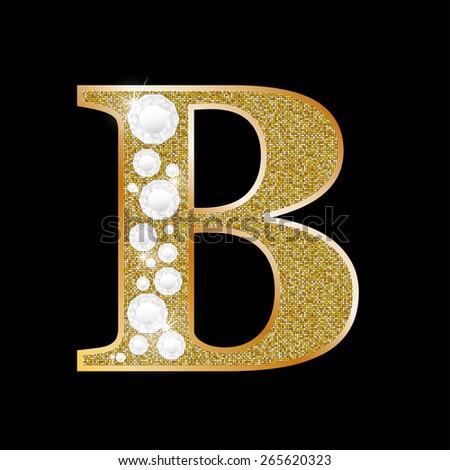 B Letter In Diamond Diamond Gold Letter Sh...