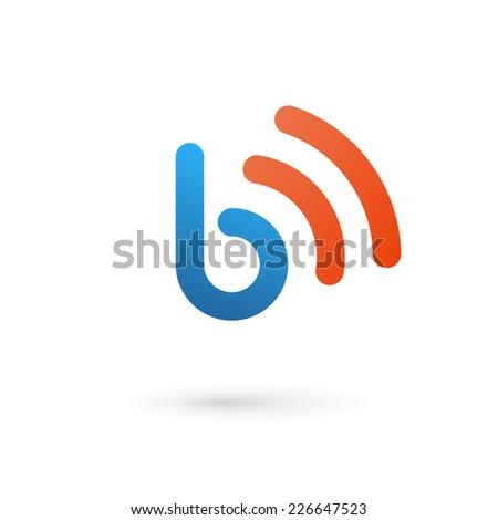 Letter B wireless logo icon design template elements  - stock vector