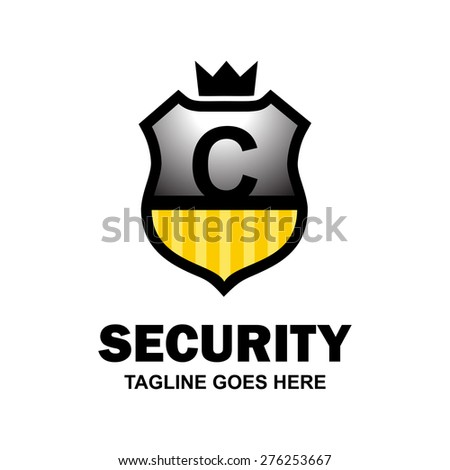 Letter c crest logo. Alphabet logotype vector design . heraldic shape shield . abstract symbol of security . gray and yellow Security Shield with Black typography style . vector illustration - stock vector