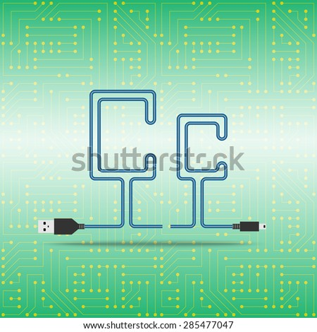 Letter C laid cable. USB blue cable, vector illustration. Background microchip - stock vector