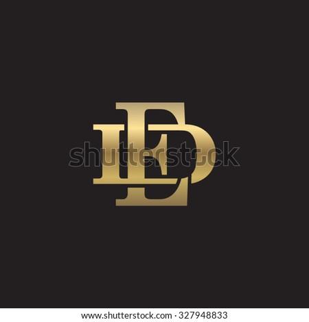 letter D and E monogram golden logo - stock vector