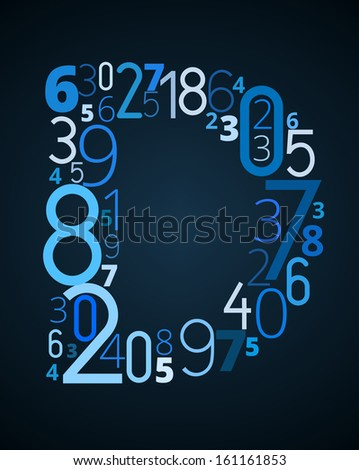 Letter D,  from different numbers typography vector font - stock vector