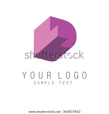 Letter D icon, geometric colorful 3d style logo with optical illusion effect, element for corporate identity. Vector EPS10 - stock vector