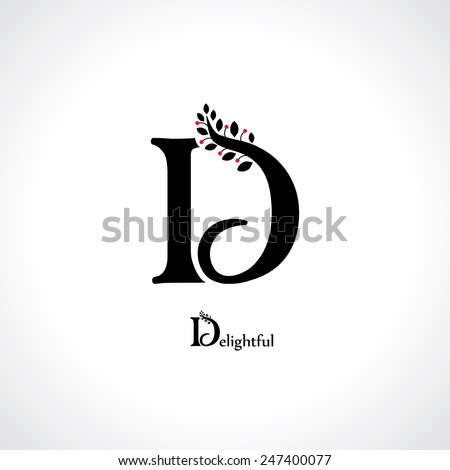 letter d in floral style - stock vector