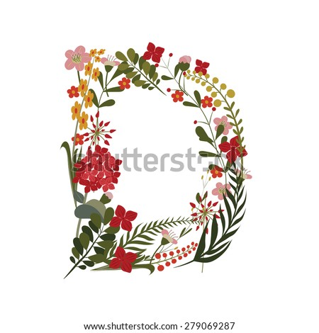 Letter D - 4 letter of the alphabet. Vector hand-drawn monogram composed of flowers, branches and leaves on a white background. - stock vector
