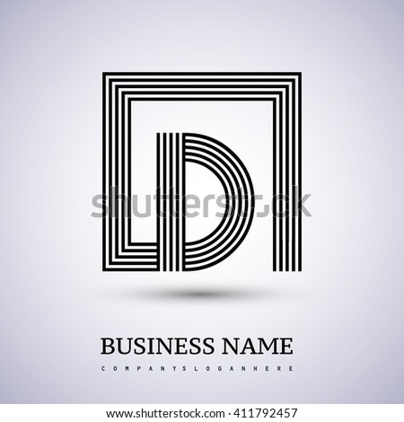 Letter D logo in a square. black colored. Vector design template elements  for company identity. - stock vector