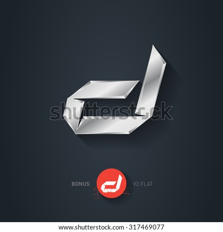 Letter D, Vector silver font. Elegant Template for company logo. Metallic Design element or icon. Pseudo origami style, including flat version. - stock vector