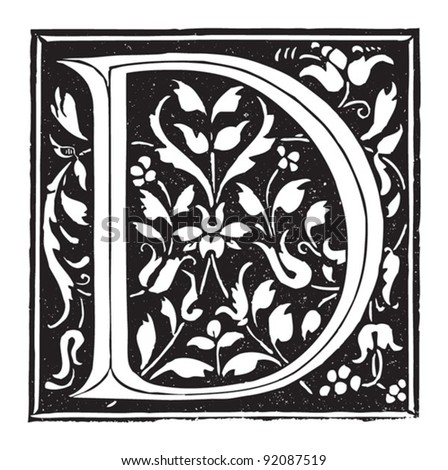 Letter d / vintage illustrations from Meyers Konversations-Lexikon 1897 - stock vector