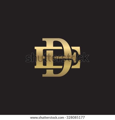 letter E and D monogram golden logo - stock vector