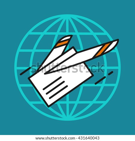Letter. E-mail. Mail. Delivery of letters all over the world. Airmail. - stock vector